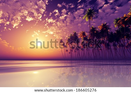 coconut palms at purple sunset over tropic sea - stock photo