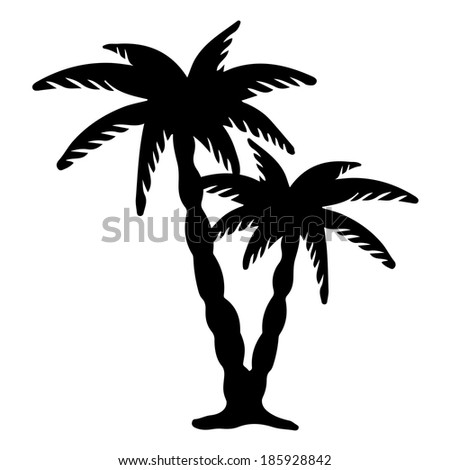 Coconut palms trees black silhouettes isolated on white background. Abstract design logo. Logotype art - raster version - stock photo