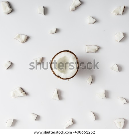 Coconut pattern on white background. Minimal concept. Flat lay.