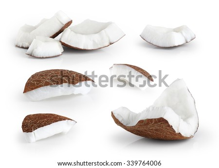 Coconut pieces isolated on a white background. Collection. - stock photo