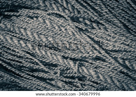 Coconut rope texture as a background. Black and white - stock photo