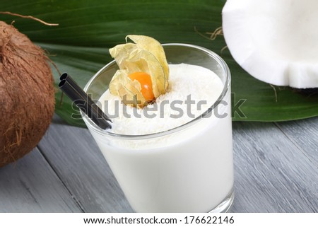 coconut smoothie - stock photo