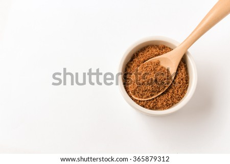 Coconut sugar with white background - stock photo