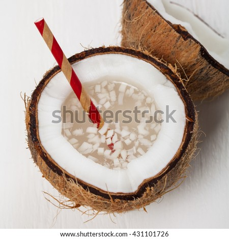 Coconut Water with Pulp. Selective focus.