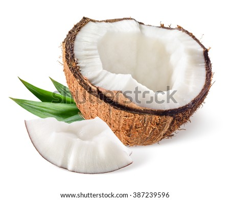 Coconut with leaf on white background