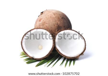 Coconut with leaves isolated on white background