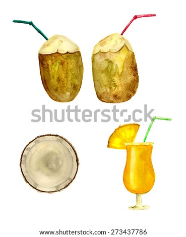 coconuts and pineapple juice, hand-drawn watercolor - stock photo