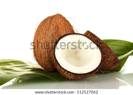 coconuts with green leaf on white background close-up