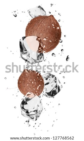 Coconuts with ice cubes, isolated on white background