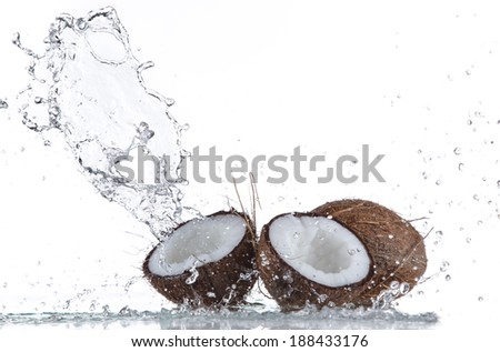 Coconuts with water splash isolated on white
