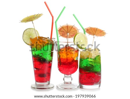 Coctail in a glass with raw fruit - stock photo
