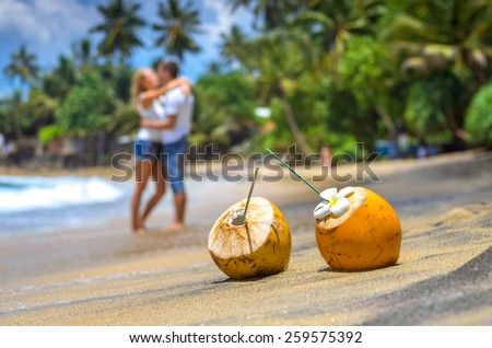 Cocunut on a tropical beach in Sri Lanka - stock photo