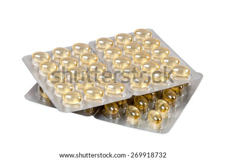 Cod liver oil capsules isolated on white background with clipping path - stock photo
