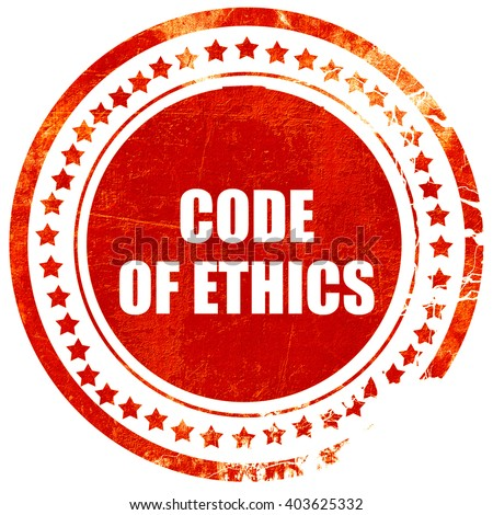 code of ethics, grunge red rubber stamp on a solid white backgro - stock photo