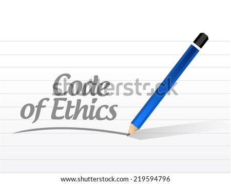 code of ethics message illustration design over a white background - stock photo