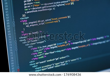 Code of web page displayed on a computer monitor - stock photo