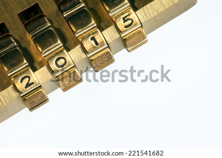 Code 2015 on combination lock - stock photo