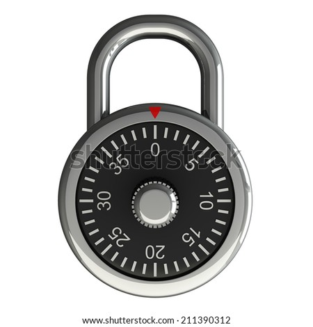 Code padlock. isolated on white background. 3d