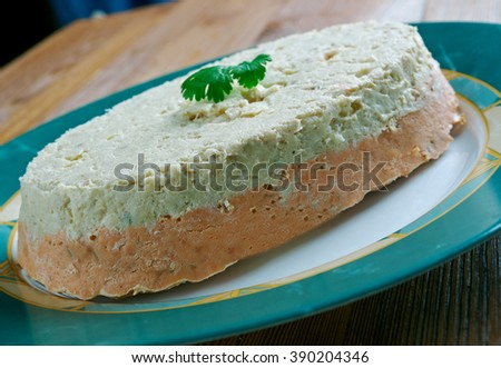 Codfish and Salmon Terrine.French  similar to a pate coarsely chopped ingredients - stock photo