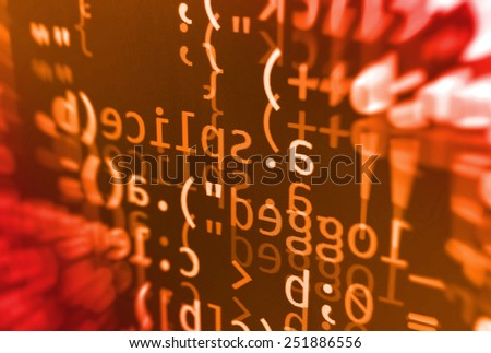 Coding programming source code screen. Colorful abstract data display. Software developer web program script. Orange red background color, white text chars and digits.  - stock photo