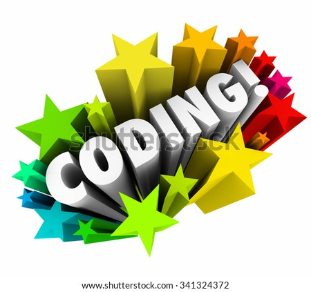 Coding word in 3d letters with stars to illustrate passion for software engineering, development, programming and coding of websites or applications