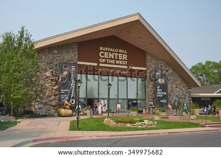 Cody, USA - August 20, 2015: entrance to the Buffalo Bill Center of the West in Cody, Wyoming. The Center includes five museums and is the oldest in the West. - stock photo