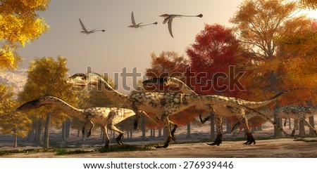 Coelophysis Hunting - Three flying Eudimorphodons pass a group of Coelophysis hunting for prey through a forest of autumn trees in the Triassic Period. - stock photo