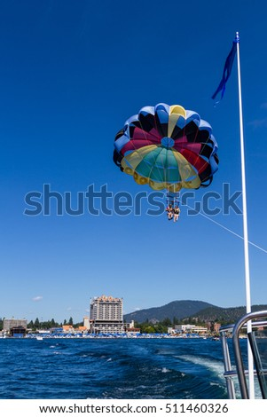 Coeur d' Alene, Idaho - August 12: Exiting summer parasailing adventure in lake Coeur d' Alene. August 12 2016, Coeur d' Alene, Idaho.