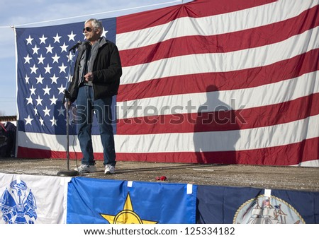 "COEUR D""ALENE, IDAHO - JANUARY 19: Idaho state Representative Ron Mendive speaks to the crowd during the pro 2nd amendment rally in Coeur d'Alene, Idaho on January 19, 2013."