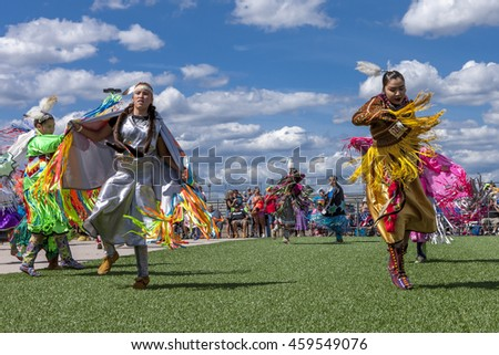 Coeur d'Alene, Idaho USA - 07-23-2016. Two native American women at powwow. Young dancers participate in the Julyamsh Powwow on July 23, 2016 in Coeur d'Alene, Idaho.