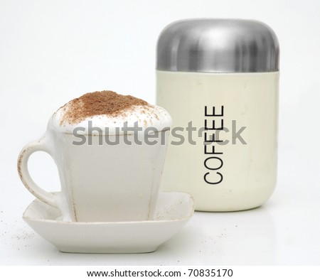 Coffe Cup and Old Coffe Can. - stock photo