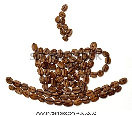 Coffe grains cup isolated on a white background - stock photo