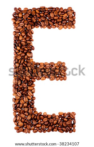 coffe letter E on white background - stock photo