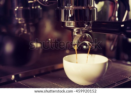 coffe manchine Professional coffee,Perfecting the coffee is color vintage and color filter