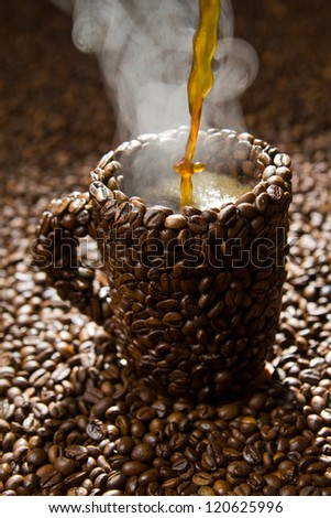 Coffee Cups With Coffee Beans