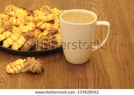 Coffee and biscuits  - stock photo