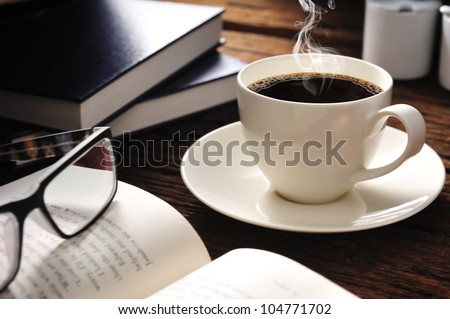 coffee and books - stock photo