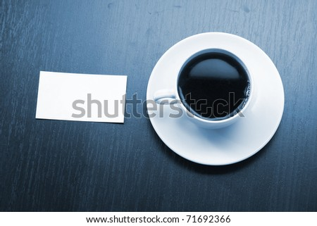 coffee and business card - stock photo