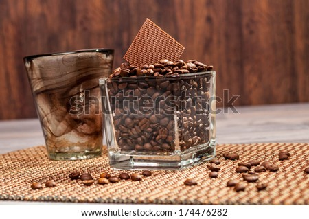 Coffee and chocolate in a transparent jar