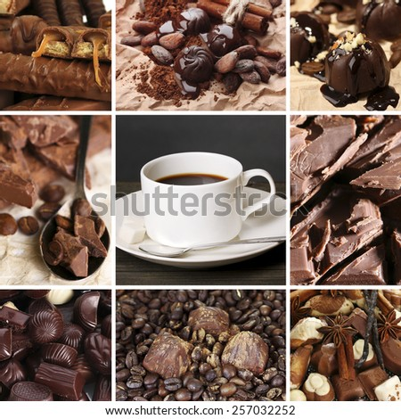 Coffee and chocolate, tasty collage