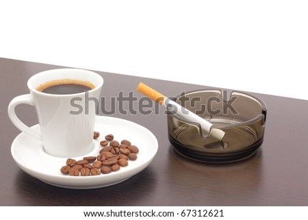 Coffee and cigarettes - stock photo