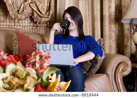 Coffee and computer time - stock photo