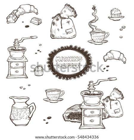 Coffee and dessert set illustration. Food elements isolated on white background. Coffee grinder, cup, muffins, chocolate in style of vintage. Raster copy