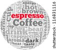 Coffee and espresso info-text graphics and arrangement concept on white background (word cloud) - stock photo