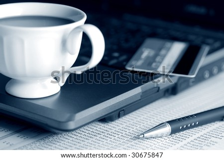 Coffee and finance. - stock photo