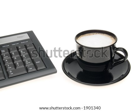 coffee and keys on white background - stock photo