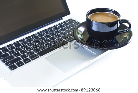 Coffee and Laptop - stock photo