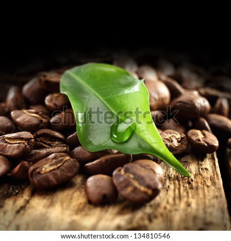 coffee and leaf - stock photo