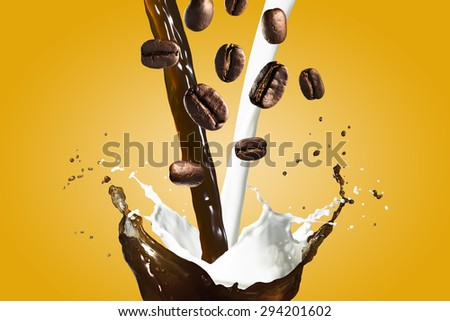 Coffee and Milk Splash - stock photo