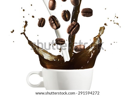 Coffee and Milk Splash from Cup With Coffee Beans Falling - stock photo